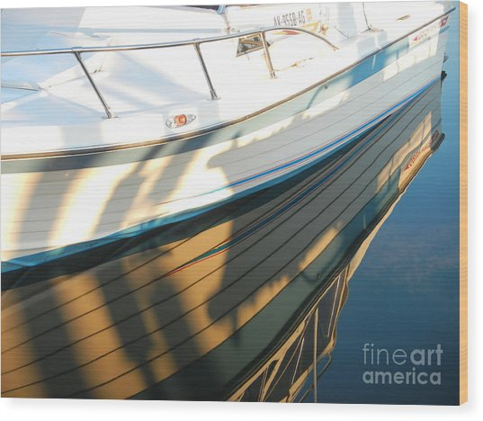 Wood Print featuring the photograph Marina Reflections by Laura  Wong-Rose