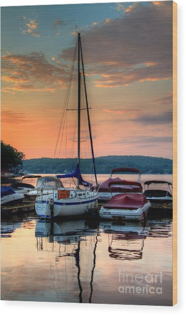 Marina Sunrise Wood Print by Craig Holquist