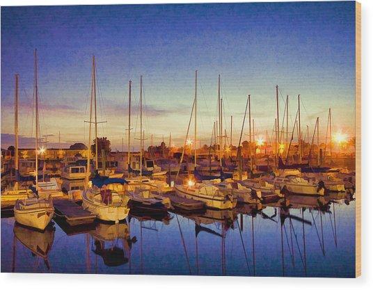 Marina Sunrise Wood Print