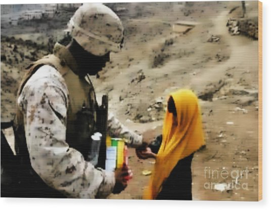 Marine Gives Afgan Girl Candy Wood Print