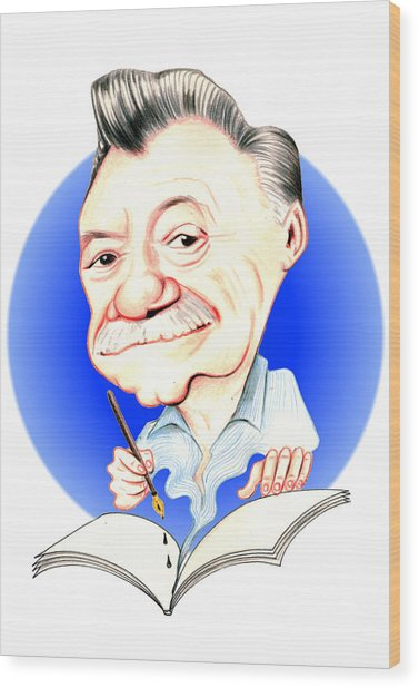 Mario Benedetti Illustration Wood Print by Diego Abelenda