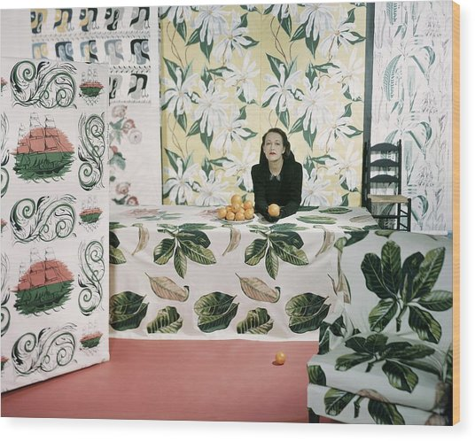 Marion Dorn Surrounded By Assorted Textile Wood Print