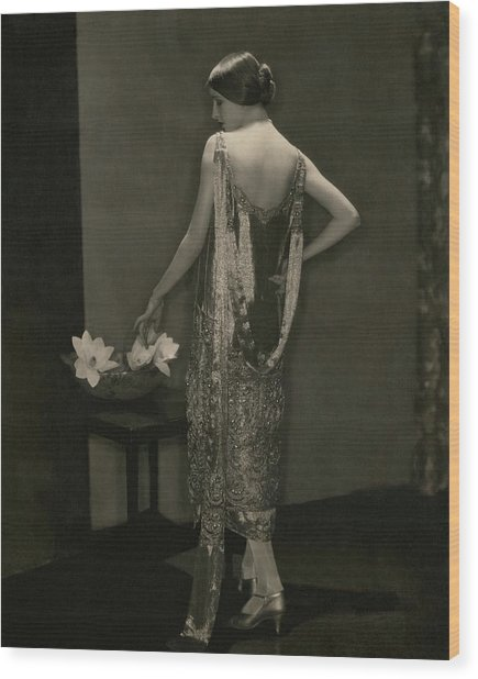 Marion Morehouse Wearing A Chanel Dress Wood Print by Edward Steichen