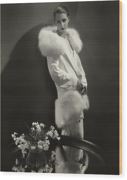 Marion Morehouse Wearing An Augustabernard Jacket Wood Print by Edward Steichen