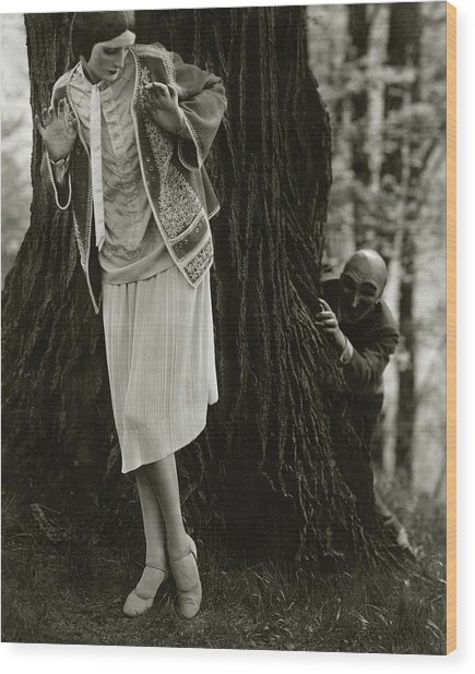 Marion Morehouse With A Man Behind A Tree Wood Print