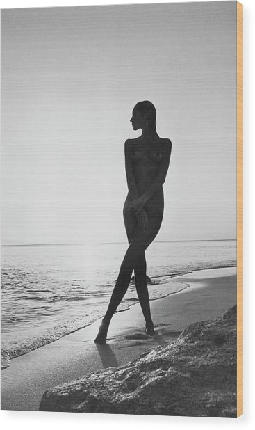 Marisa Berenson At A Beach Wood Print