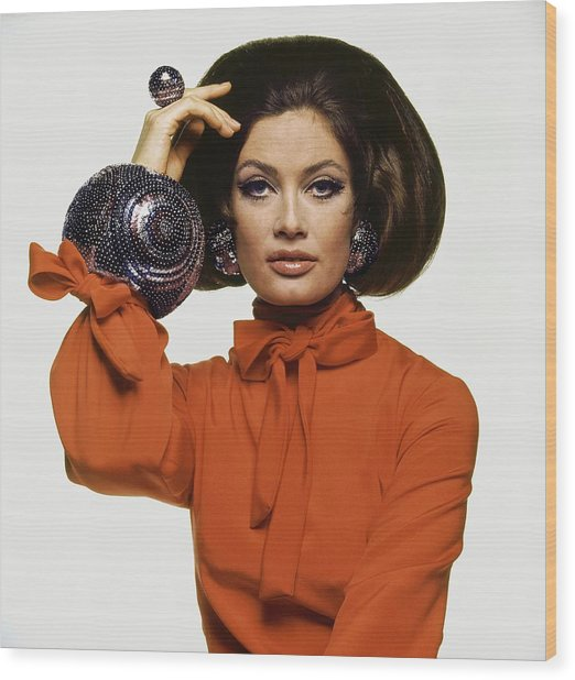 Marisa Mell Wearing Maurice Jacobs Jewelry Wood Print