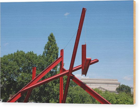 Mark Di Suvero Steel Beam Sculpture Wood Print