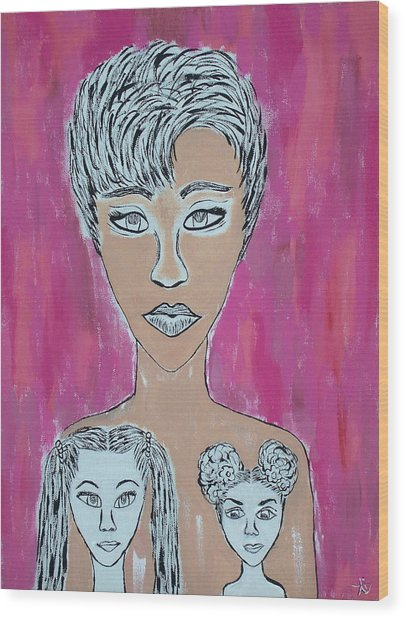 Mother And Daughters Painting And Drawing Wood Print
