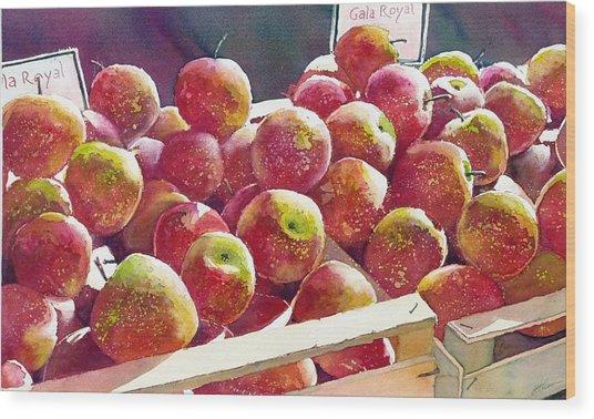 Market Apples Wood Print