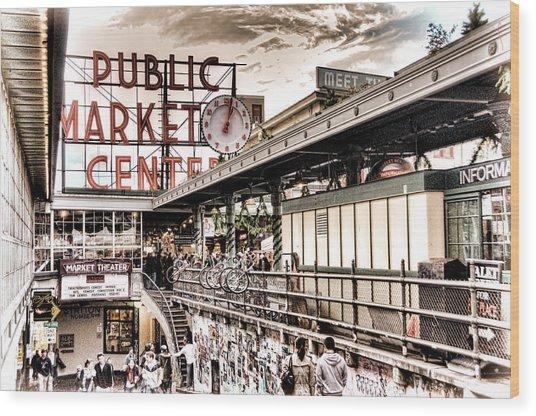 Market Center Wood Print
