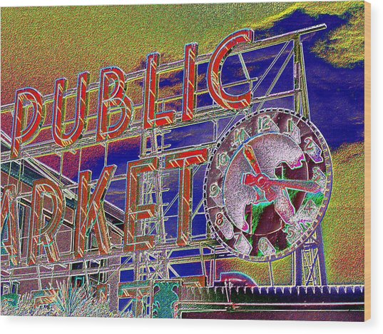 Market Clock 1 Wood Print