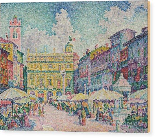 Market Of Verona Wood Print