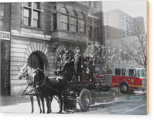 Market Street Fire Station Wood Print