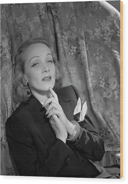 Marlene Dietrich Wearing A Suit Jacket Wood Print