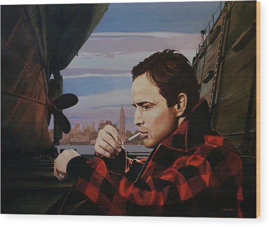 Marlon Brando - On The Waterfront Wood Print by Jo King
