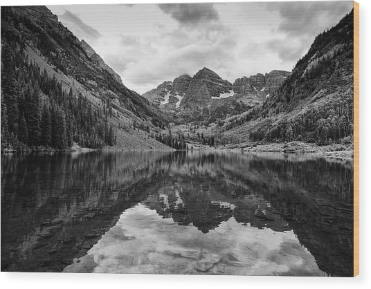 Maroon Bells - Aspen - Colorado - Black And White Wood Print