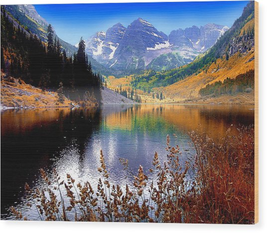 Maroon Bells At Maroon Lake Wood Print