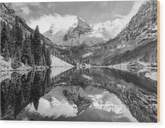 Maroon Bells Bw Covered In Snow - Aspen Colorado Wood Print