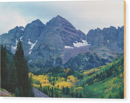 Maroon Bells In Fall Wood Print by Adventure photo