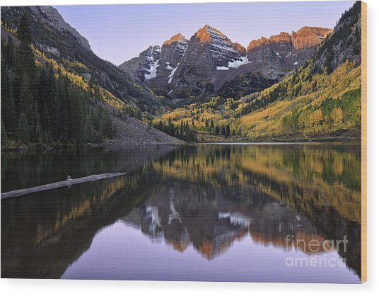 Maroon Bells Reflection Wood Print