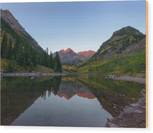 Maroon Bells Sunrise Wood Print by David Yack