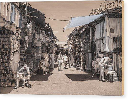Marrakech Souk Wood Print