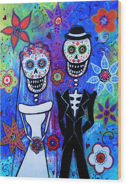 Married Couple Dia De Los Muertos Wood Print