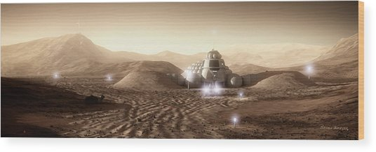 Wood Print featuring the digital art Mars Habitat - Valley End by Bryan Versteeg