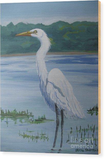 Marsh Land Egret Wood Print