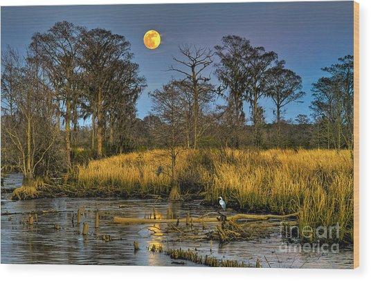 Pawleys Island Marsh Moon Wood Print