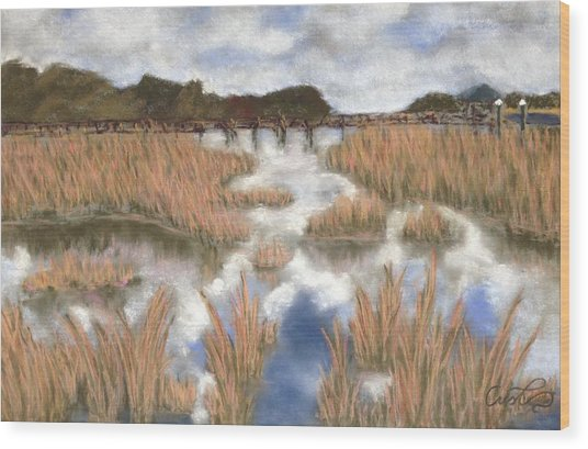 Marsh Reflections Wood Print by Cristel Mol-Dellepoort
