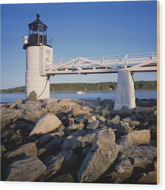 Marshall Point Light-sq Wood Print
