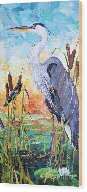Marshland Moring Wood Print