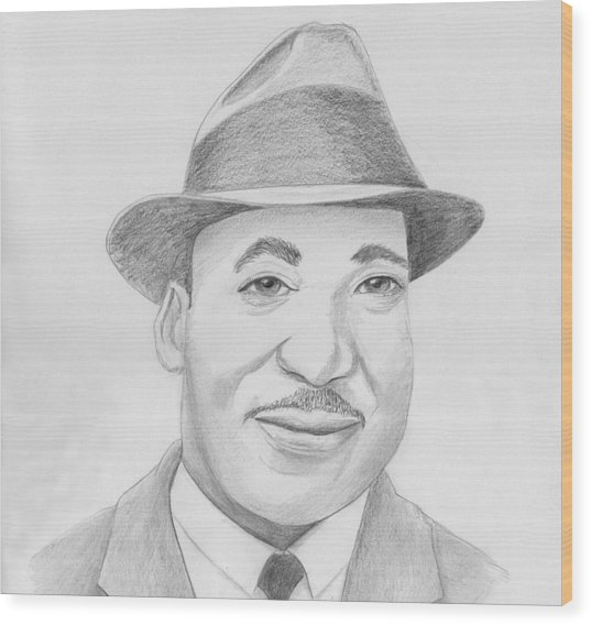 Martin Luther King Sketch Wood Print