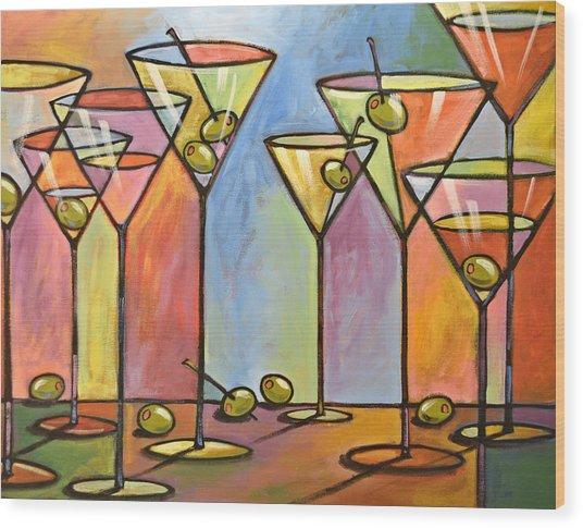 Martini Bar ... Abstract Alcohol Art Wood Print
