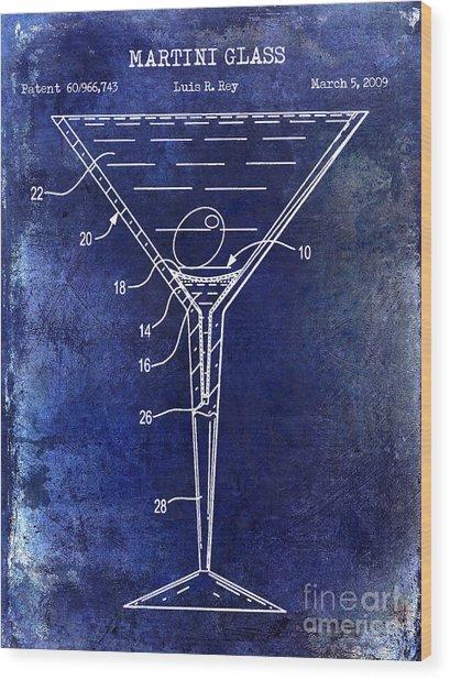 Martini Glass Patent Drawing Blue Wood Print