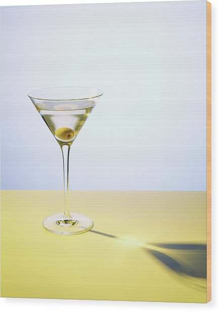 Martini In Martini Glass With Olive Wood Print by Felicity Mccabe