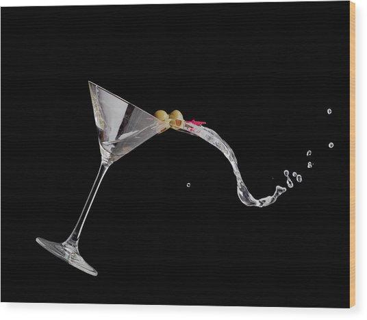 Martini Spill Wood Print