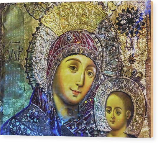 Mary And Jesus Icon, Greek Orthodox Wood Print by William Perry