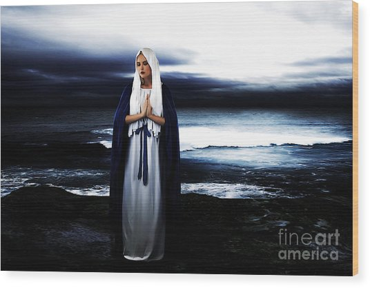 Mary By The Sea Wood Print