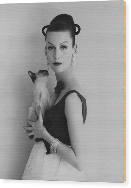 Mary Jane Russell Holding A Cat Wood Print