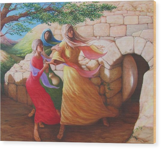 Mary Magdalene Discovering The Empty Tomb Wood Print