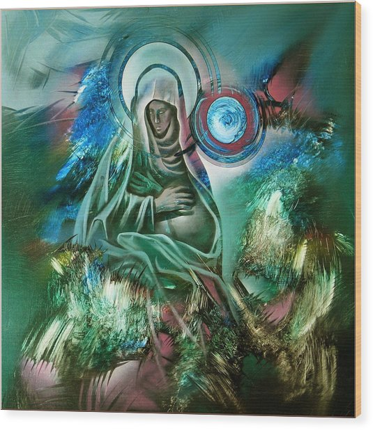 Mary Mother Of Jesus Wood Print by Glenn Bautista