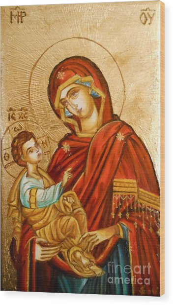 Mary With Jessus R.1 Wood Print