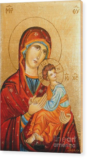Mary With Jessus R.2 Wood Print