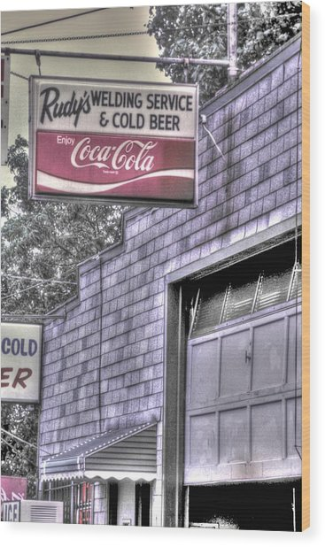 Maryland Country Roads - Some Things Just Go Together No. 1 - Rudys Welding And Cold Beer Wood Print