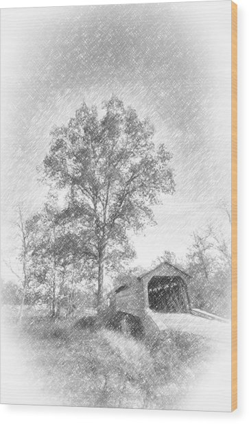 Maryland Covvered Bridge In Pencil Wood Print