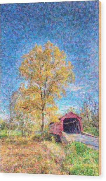 Maryland Covvered Bridge Oil Painting Wood Print