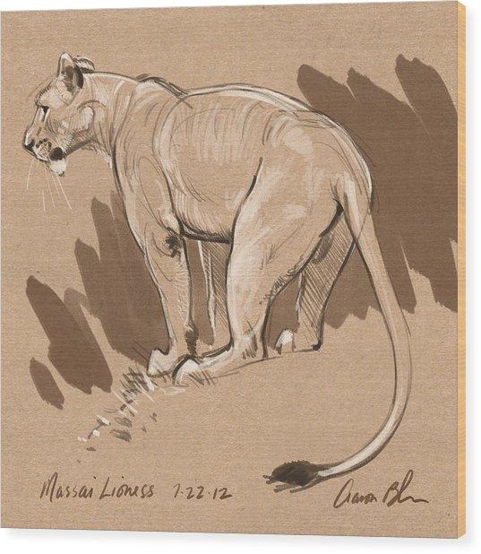 Masai Lioness Wood Print